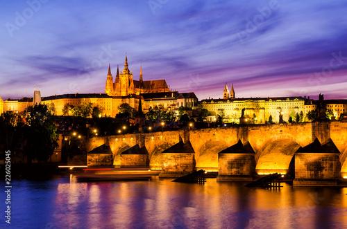 Gorgeously lit Prague Castle at sunset