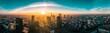 Warszawska panorama o wschodzie słońca