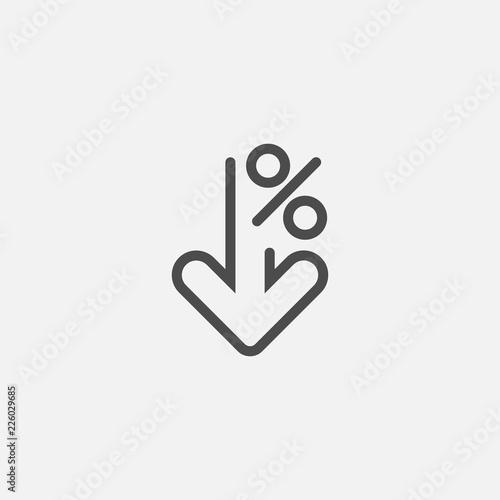 Fototapeta Percent down line icon isolated on white background. Vector illustration. obraz