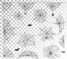 Spider Web Set On Transparent Background. Cobweb Elements Design. Vector Illustration