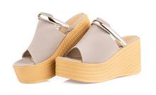 Grey Heel Women Shoes Isolated...