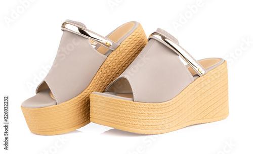 Vászonkép Grey heel women shoes isolated on white background.