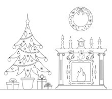 Christmas Linear Card With Christmas Tree And Fireplace. Interior Decorated With The New Year. Vector Colorong Page.