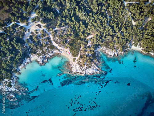 Photo sur Toile Vue aerienne Beautiful beach top aerial view drone shot