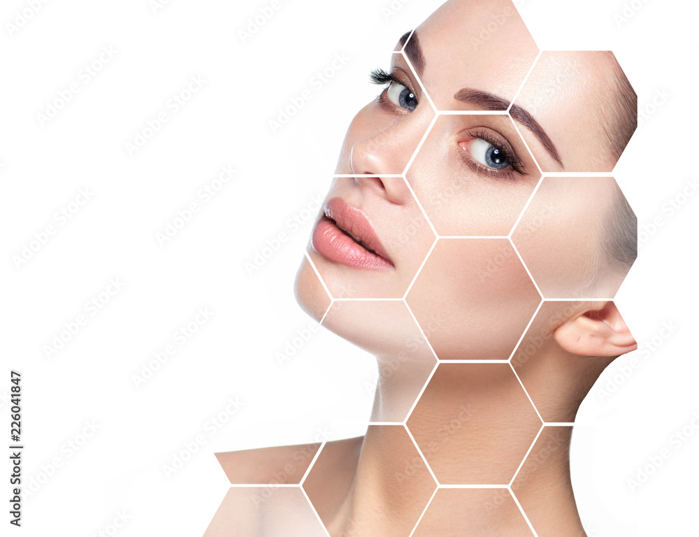 Fototapeta beautiful face woman with holographic honeycomb in face. Future concept of lifting skin effect and plastic surgery.