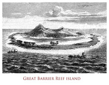 Engraving Depicting An Island Of The Great Barrier Reef - Queensland, Australia