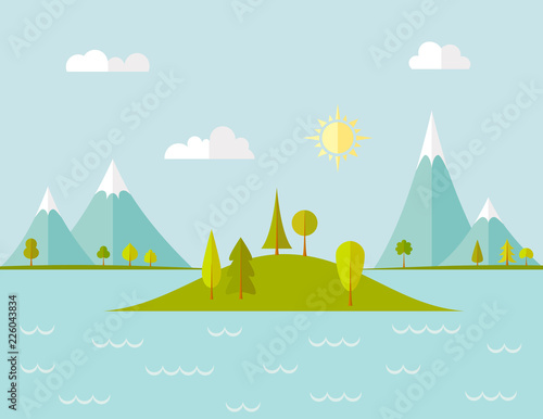 Tuinposter Lichtblauw A small island in the center of the lake on the background of the mountains. Vector landscape in flat style. Banner on the tourist theme.
