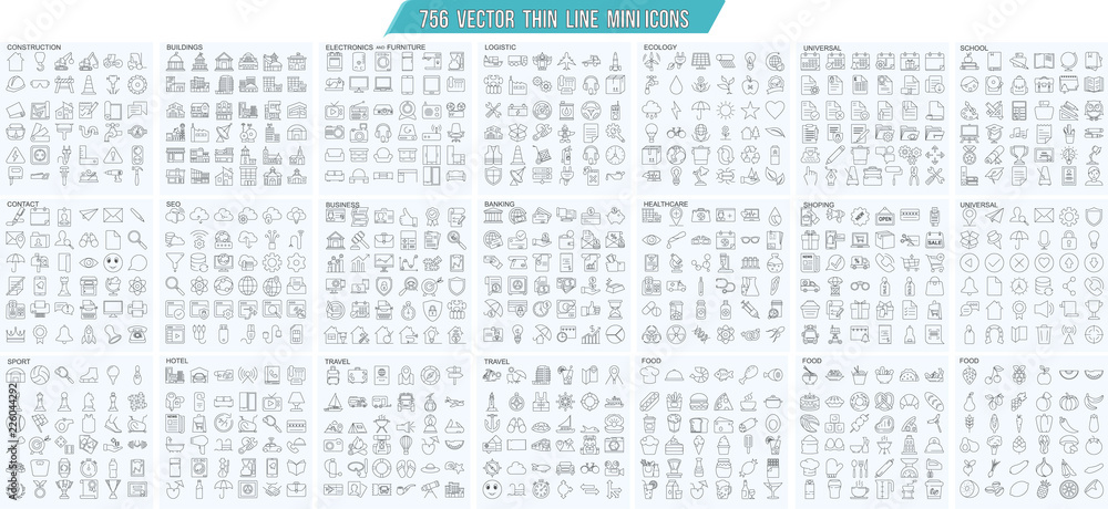 Fototapety, obrazy: Vector thin line mini , simple outline icons set, 25x25px grid   Pixel perfect.  Editable stroke.