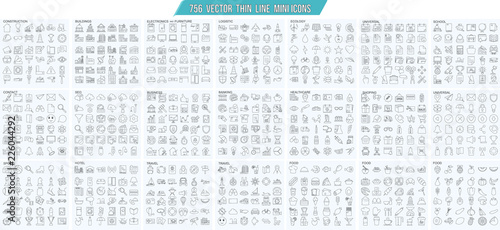 Vector thin line mini , simple outline icons set, 25x25px grid   Pixel perfect Fototapeta
