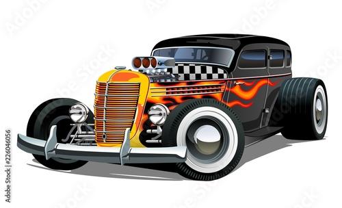 Staande foto Cartoon cars Cartoon retro hot rod isolated on white background