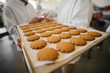 Close up of fresh cookies on big tray in food factory. Blurred picture of two male employees in sterile clothes talking in background.