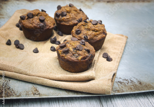 Carta da parati Healthy pumpkin chocolate chip muffins with golden napkin on baking sheet