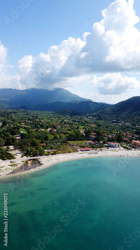 Printed kitchen splashbacks Turkey Aerial drone photo of famous seaside village and port of Vasiliki famous for trips to Ionian islands and nearby beaches, Lefkada, Greece