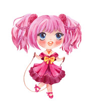 Cute Little Girl Jumping With Rope. Vector Hand-drawn Manga Style Chara
