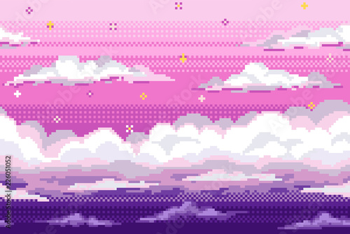 Photo Vector pixel background with evening sky and clouds