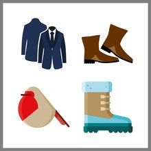 4 American Icon. Vector Illustration American Set. Blue Costume Back Side And Robin Icons For American Works