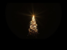 Gold Christmas Tree Lights With Snowflakes And Stars On Black Background For Overlay.