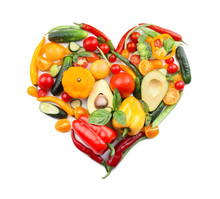 Heart Made Of Various Fresh Vegetables On White Background