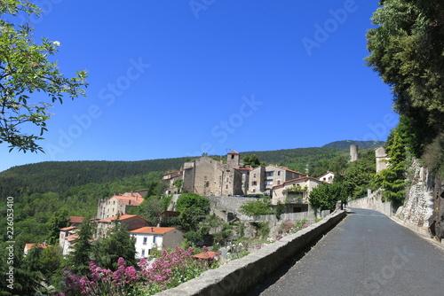Village de Corsavy dans les pyrénées orientales et fleurs roses