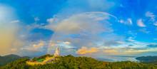 Areial View Amazing Rainbow Cover Phuket Big Buddha..Phuket Big Buddha Is One Of The Island Most Important And Revered Landmarks On The Island.
