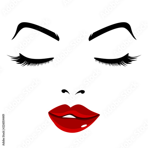 Pretty Face Girl Eyes Closed Red Lips
