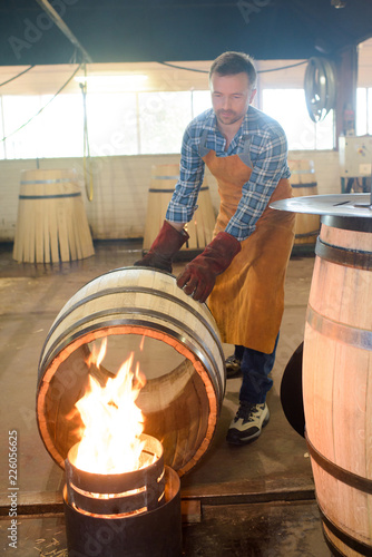 cooper heating a barrel