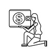 woman on the knee with wallet money