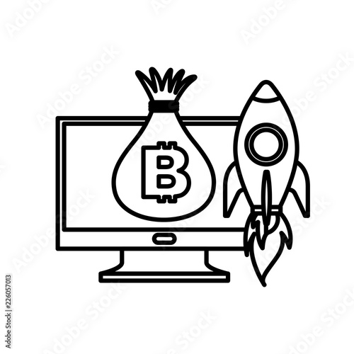 computer money bag and rocket launching - Buy this stock vector and