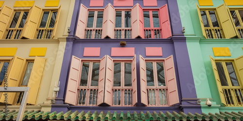 Photo  colored wood windows of the building colorful background.