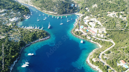 Poster Olive Aerial drone top view photo of luxury sail boats docked in tropical bay with turquoise and emerald clear sea