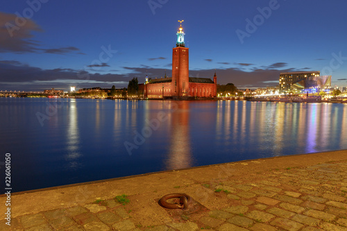 Stockholm. City Hall on the sunset.