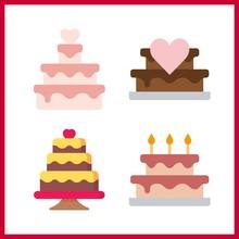 4 Cake Icon. Vector Illustrati...