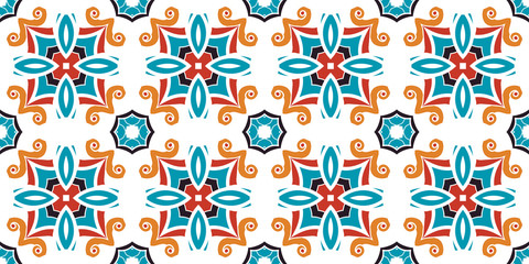 Naklejka Do kuchni Seamless pattern, ceramic tiles azulejos. Vector illustration.