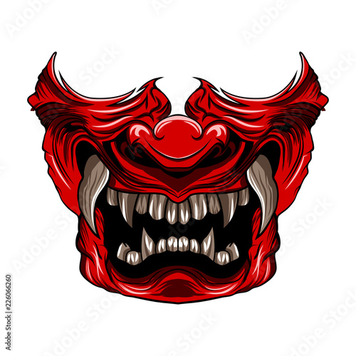 Cuadros en Lienzo red samurai mask vector illustration isolated