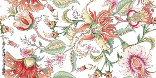 Fototapeta Tropical fantasy floral seamless pattern