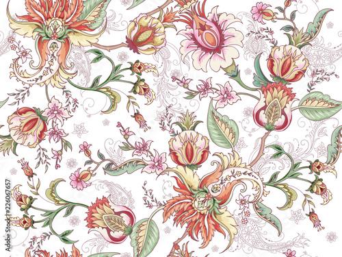 Fotografie, Obraz Tropical fantasy floral seamless pattern