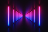 Fototapeta Perspektywa 3d - Futuristic Sci-Fi Abstract Blue And Purple Neon Light Shapes On Black Background With Empty Space For Text 3D Rendering Illustration