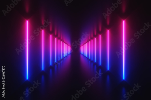 Futuristic Sci Fi Abstract Blue And Purple Neon Light Shapes