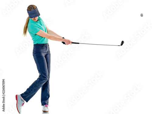 Poster Golf one caucasian woman woman golfer golfing in studio isolated on white background
