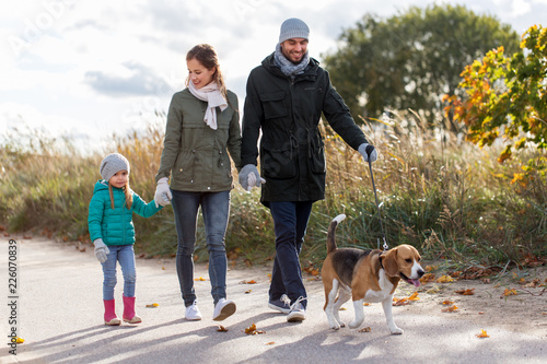 Fotografia, Obraz  family, pets and people concept - happy mother, father and little daughter walki