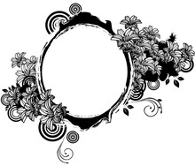 Oval Shape With Flora Design