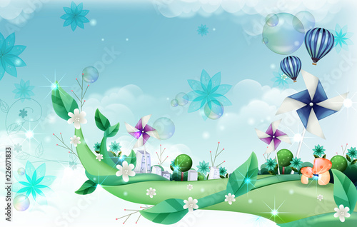 Paper Wind mill and building exterior on creeper plant Poster Mural XXL