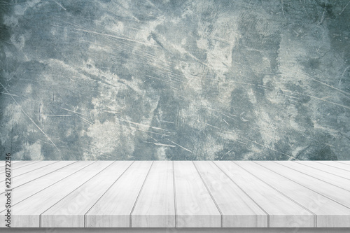Fototapety, obrazy: old wood plank or wood floor with cement wall texture background use for product display