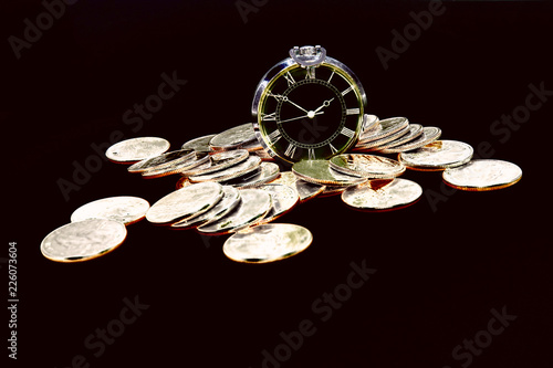 Abstraction on a theme savings time is money. Saving money, long term investment or financial deadline concept.