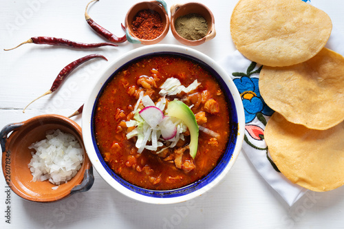 Mexican red pozole soup