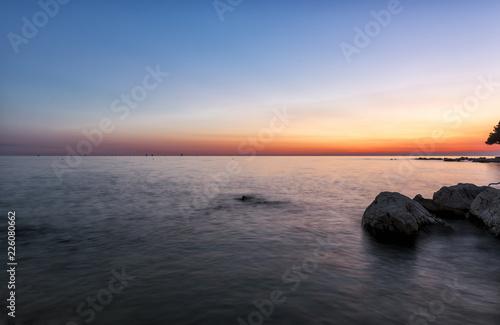 Sunset over Adiatic sea in Croatia