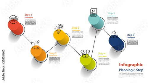 Photo  infographic element design 6 step, infochart planning