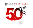 Halloween Sale. Vector template of holiday sale fifty percent discount. Red stains drawn figures 50%. The devil's forks and horns feature in the form of a percent sign.