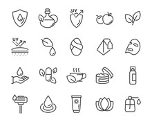 Set Of Healthy Skin Care  Icon...