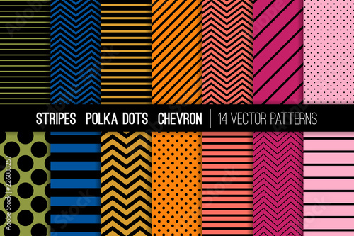 Stripes, Polka Dots and Chevron Vector Patterns Set in